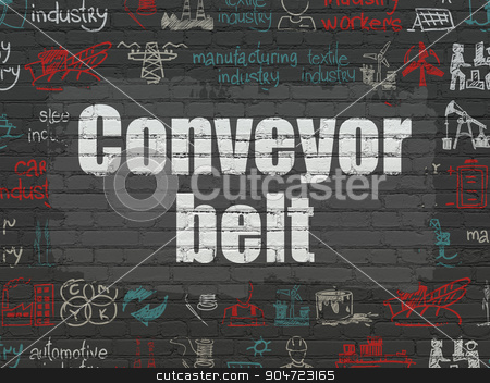 Industry concept: Conveyor Belt on wall background stock photo, Industry concept: Painted white text Conveyor Belt on Black Brick wall background with  Hand Drawn Industry Icons by mkabakov