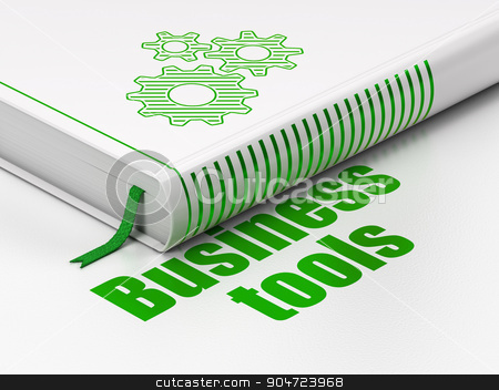 Business concept: book Gears, Business Tools on white background stock photo, Business concept: closed book with Green Gears icon and text Business Tools on floor, white background, 3d render by mkabakov