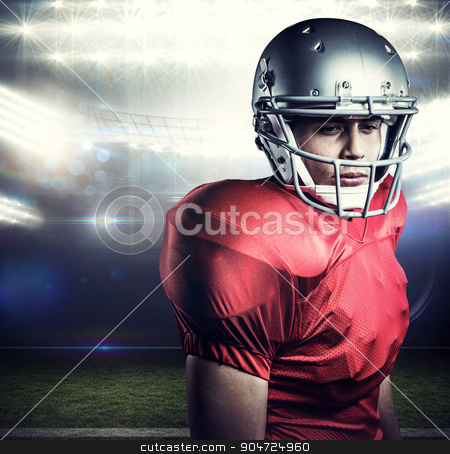 Composite image of close-up of confident american football playe stock photo, Close-up of confident American football player against american football arena by Wavebreak Media