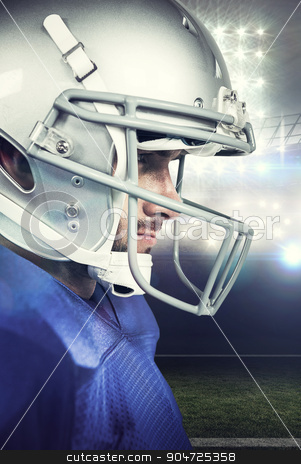 Composite image of close-up of american football player stock photo, Close-up of American football player against american football arena by Wavebreak Media