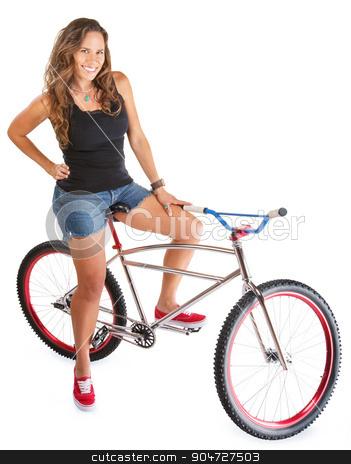 Smiling Woman on Mountain Bike stock photo, Isolated beautiful Hispanic woman on mountain bike by Scott Griessel