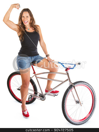 Mountain Bicyclist Flexing Muscle stock photo, Cute woman with mountain bike flexing her arm by Scott Griessel