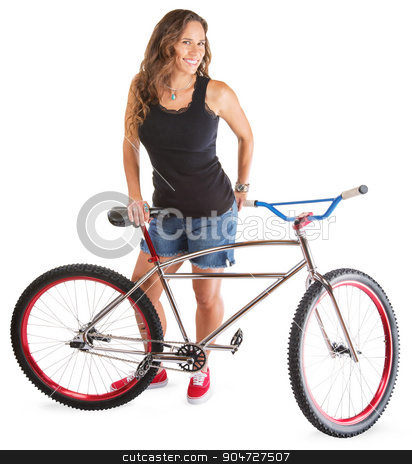 Cute Adult with Mountain Bike stock photo, Cute adult female in shorts with bike by Scott Griessel