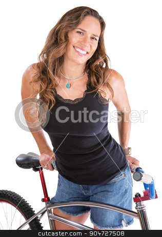 Cheerful Woman with Mountain Bike stock photo, Cheerful Hispanic woman in blue jeans shorts with bike by Scott Griessel
