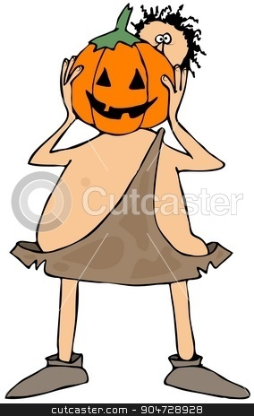 Caveman with a pumpkin head stock photo, Illustration depicting a caveman holding up a carved pumpkin. by Dennis Cox