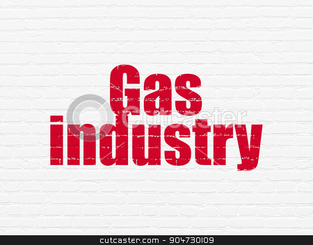 Industry concept: Gas Industry on wall background stock photo, Industry concept: Painted red text Gas Industry on White Brick wall background by mkabakov