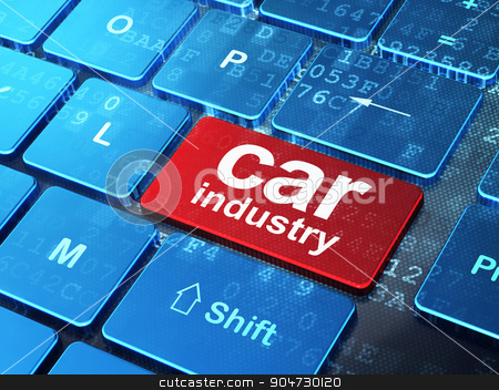 Industry concept: Car Industry on computer keyboard background stock photo, Industry concept: computer keyboard with word Car Industry on enter button background, 3d render by mkabakov
