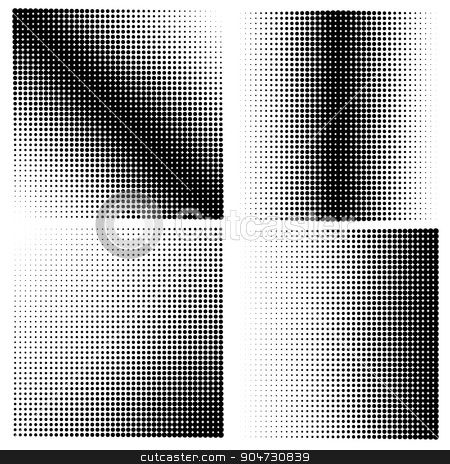 Set of 4 halftones. Vector illustration stock vector clipart, Set of 4 halftones. Vector illustration. Diagonal halftone in square shape by T-flex