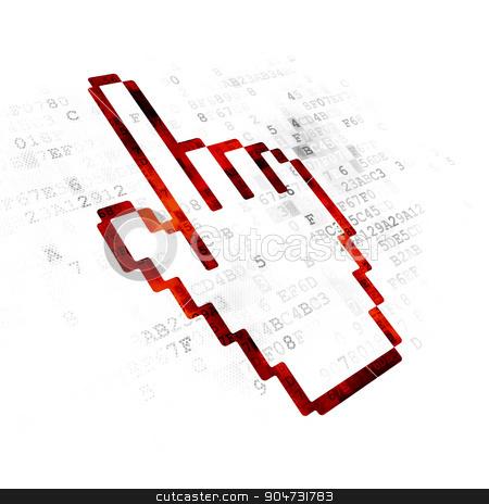 Web design concept: Mouse Cursor on Digital background stock photo, Web design concept: Pixelated red Mouse Cursor icon on Digital background by mkabakov