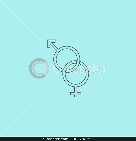 Twisted male and female sex symbol stock vector clipart, Twisted male and female sex symbol. Simple outline flat vector icon isolated on blue background by Liudmila Marykon
