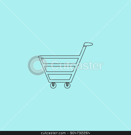 trolley market stock vector clipart, Trolley market. Simple outline flat vector icon isolated on blue background by Liudmila Marykon