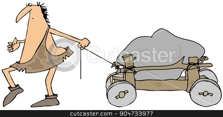 Caveman pulling a wooden cart stock photo, Illustration depicting a caveman pulling a wooden cart with a giant boulder. by Dennis Cox