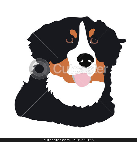 Bernese Mountain Dog stock vector clipart, A stylized portrait of a Bernese Mountain Dog by Maria Bell