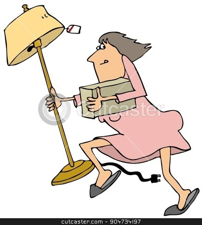 Woman looter stock photo, Illustration depicting a woman looter running while carrying a floor lamp and a box. by Dennis Cox