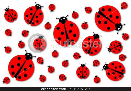 Many Ladybugs Shadows stock photo, Background image with many different sized ladybugs on white background. by Henrik Lehnerer