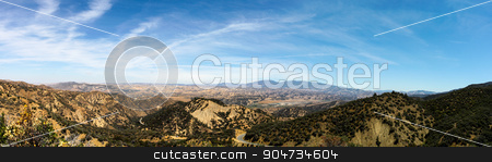 Los Padres National Forest stock photo, Panorama shot of the Los Padres National Forest by Henrik Lehnerer
