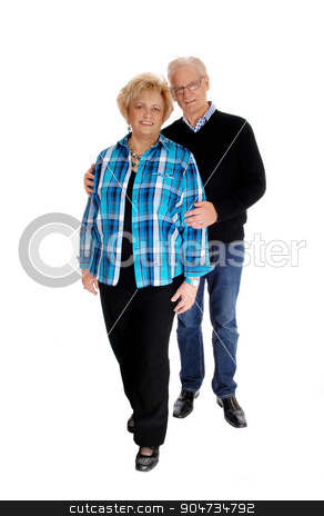 Middle age couple standing. stock photo, A nice mature couple couple standing isolated for white background, the man behind the wife.  by Horst Petzold