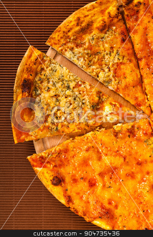 hot pizza four cheese  stock photo, hot pizza four cheese on a brown background by MegaArt