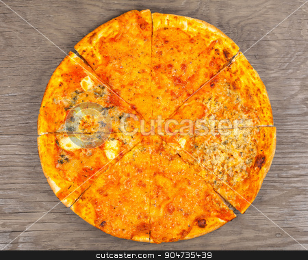 hot pizza four cheese  stock photo, hot pizza four cheese on a wooden background by MegaArt
