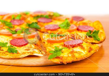 hot pizza with salami  stock photo, hot pizza with salami on white background by MegaArt