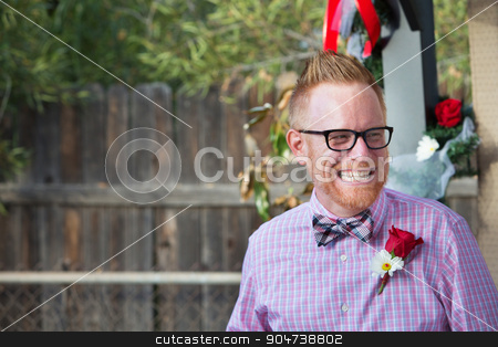 Happy Man with Rose stock photo, Happy Caucasian man with rose on lapel by Scott Griessel