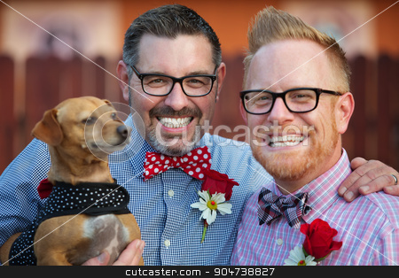 Homosexual Couple with Pet stock photo, Outdoor marriage ceremony for male gay couple by Scott Griessel