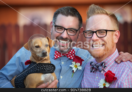 Happy Couple with Dog stock photo, Cheerful married gay couple outdoors with dog by Scott Griessel