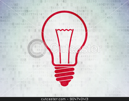 Business concept: Light Bulb on Digital Paper background stock photo, Business concept: Painted red Light Bulb icon on Digital Paper background by mkabakov