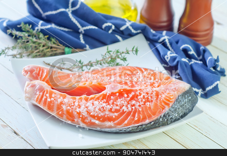 raw salmon steak stock photo, raw salmon steak by tycoon