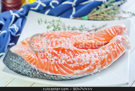 raw salmon steak stock photo, raw salmon steak by tycoon