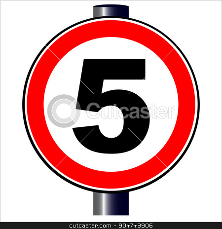5 mph Sign stock vector clipart, A large round red traffic sign displaying 5 over white by Kotto