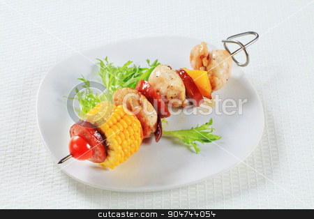 Chicken skewer stock photo, Chicken skewer with sausage and sweetcorn by Digifoodstock