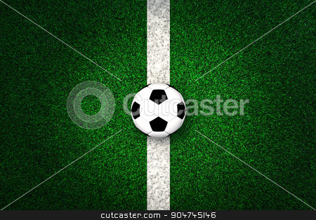 Soccer ball on white marking line stock photo, Soccer ball on white marking line, edge of football field by yodiyim