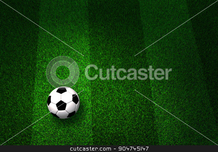 Soccer ball on field stock photo, Soccer ball on soccer field close-up by yodiyim