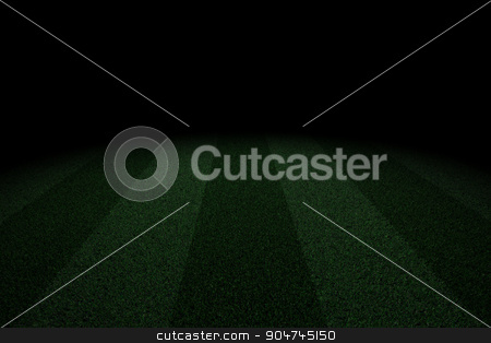 Two tone soccer field in the dark stock photo, Two tone line soccer field background in the dark by yodiyim