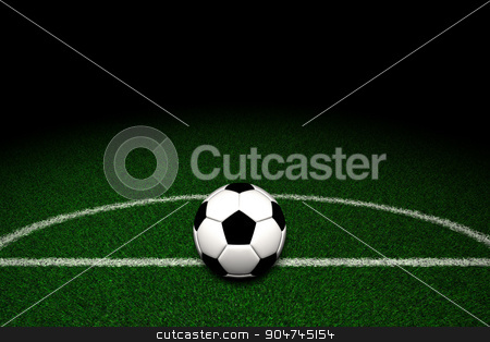 Soccer ball on field  stock photo, Soccer ball on green field by yodiyim