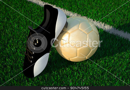 Soccer ball on field and soccer shoe stock photo, Soccer ball on green field with soccer shoe by yodiyim