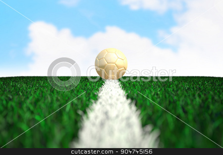 Soccer ball on field with sky background stock photo, Soccer ball on green field with bright sky background by yodiyim