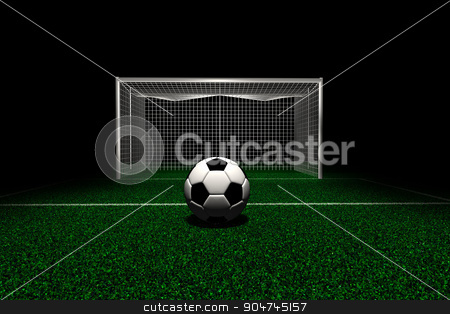 Soccer ball in front goal stock photo, Soccer ball on green field in front of Goal by yodiyim