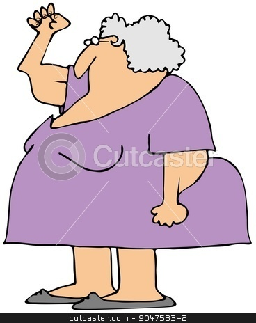 Gray senior power stock photo, Illustration depicting an old woman flexing her fist and showing her power and sagging triceps. by Dennis Cox