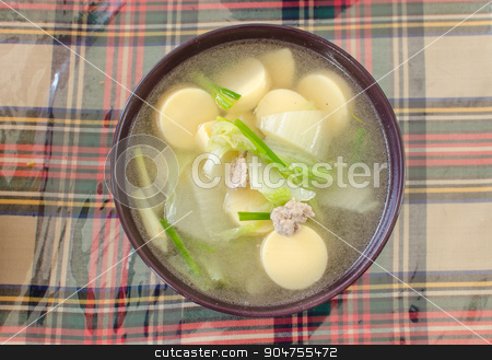tofu Clear Soup stock photo, Thai food, Clear Soup with Vegetables and pork. by aoo3771