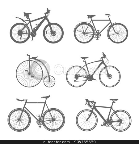 set of silhouettes bicycles stock vector clipart, Vector set of silhouettes bike on white isolated background by Pavel