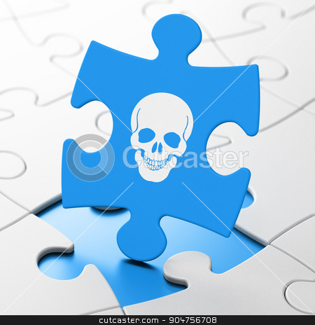 Healthcare concept: Scull on puzzle background stock photo, Healthcare concept: Scull on Blue puzzle pieces background, 3d render by mkabakov