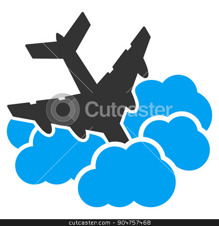 Aircraft Falls Into Clouds Icon stock photo, Aircraft Falls Into Clouds glyph icon. Style is flat symbol, rounded angles, white background by ahasoft