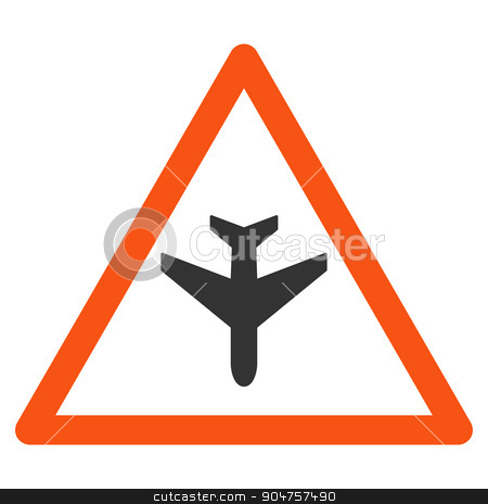 Airplane Warning Icon stock photo, Airplane Warning glyph icon. Style is flat symbol, rounded angles, white background by ahasoft