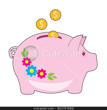 Piggy Bank stock vector clipart, A pink piggy bank with flowers on it. Coins are being added to it by Maria Bell