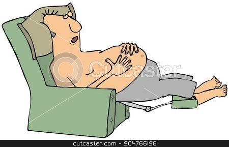 Shirtless man asleep in a chair stock photo, Illustration depicting a shirtless man asleep in a recliner chair. by Dennis Cox