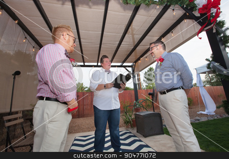 Two Men Getting Married stock photo, Male couple taking wedding vows in outdoor marriage ceremony by Scott Griessel