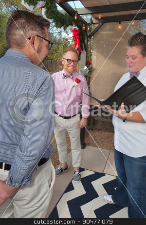 Gay Couple Married by Magistrate stock photo, Happy gay couple being married by justice of the peace by Scott Griessel
