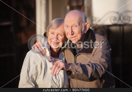 Pointing Man with Woman stock photo, Man with woman outdoors pointing his finger by Scott Griessel